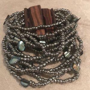 Beautiful gunmetal beaded bracelet
